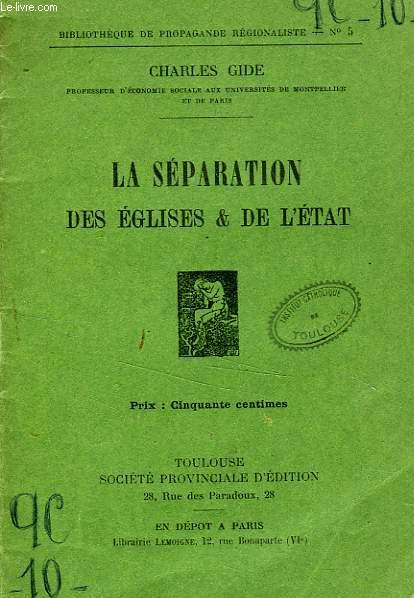 LA SEPARATION DES EGLISES ET DE L'ETAT