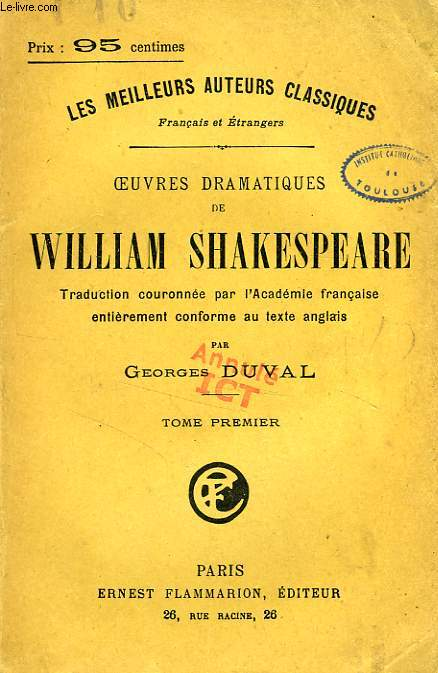 Oeuvres dramatiques de william shakespeare, 4 tomes