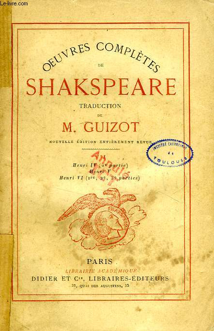 OEUVRES COMPLETES DE SHAKESPEARE, TOME VII