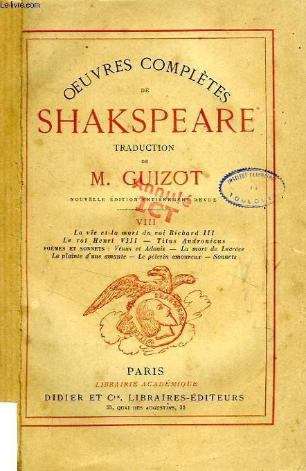 OEUVRES COMPLETES DE SHAKESPEARE, TOME VIII