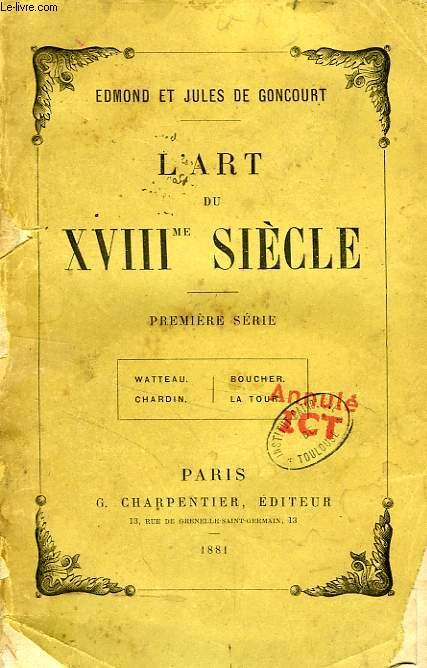 L'ART DU XVIIIe SIECLE, 1re SERIE