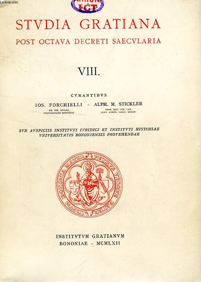 STUDIA GRATIANA POST OCTAVA DECRETI SAECULARIA, COLLECTANEA HISTORIAE IURIS CANONICI, TOMUS VIII