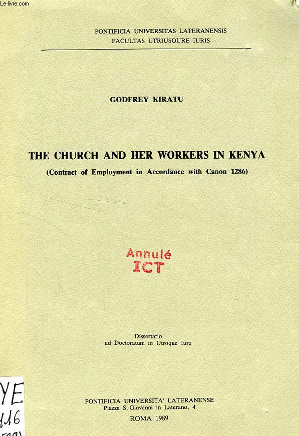 The church and her workers in kenya (contract of employment in accordance with canon 1286)
