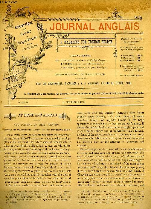 JOURNAL ANGLAIS, A MAGAZINE FOR FRENCH PEOPLE, 1re ANNEE, N° 8, 1er NOV. 1892