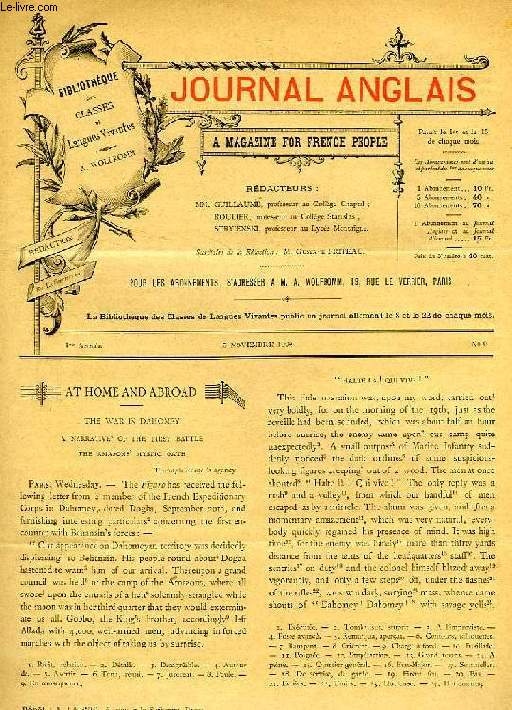 JOURNAL ANGLAIS, A MAGAZINE FOR FRENCH PEOPLE, 1re ANNEE, N° 9, 15 NOV. 1892