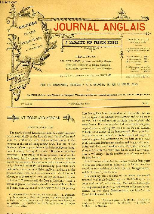 JOURNAL ANGLAIS, A MAGAZINE FOR FRENCH PEOPLE, 1re ANNEE, N° 10, 1er DEC. 1892