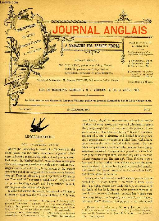 JOURNAL ANGLAIS, A MAGAZINE FOR FRENCH PEOPLE, 1re ANNEE, N° 11, 15 DEC. 1892