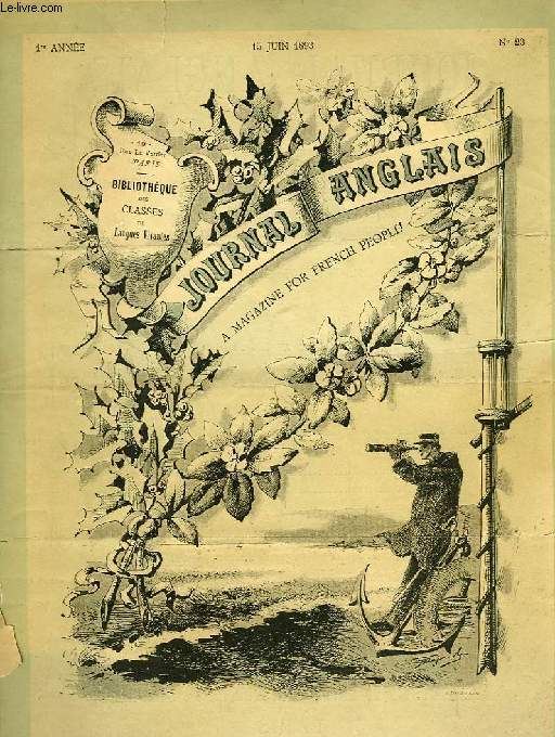 JOURNAL ANGLAIS, A MAGAZINE FOR FRENCH PEOPLE, 1re ANNEE, N° 23, 15 JUIN 1893