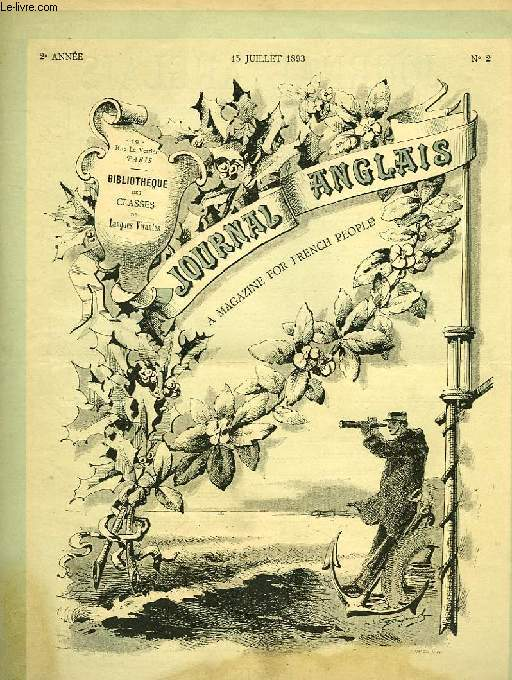 JOURNAL ANGLAIS, A MAGAZINE FOR FRENCH PEOPLE, 2e ANNEE, N° 2, 15 JUILLET 1893
