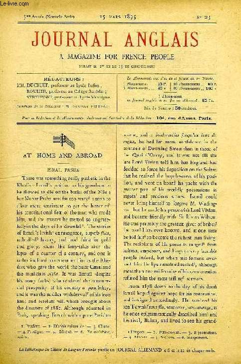 JOURNAL ANGLAIS, A MAGAZINE FOR FRENCH PEOPLE, 3e ANNEE, N° 23, 15 MARS 1895
