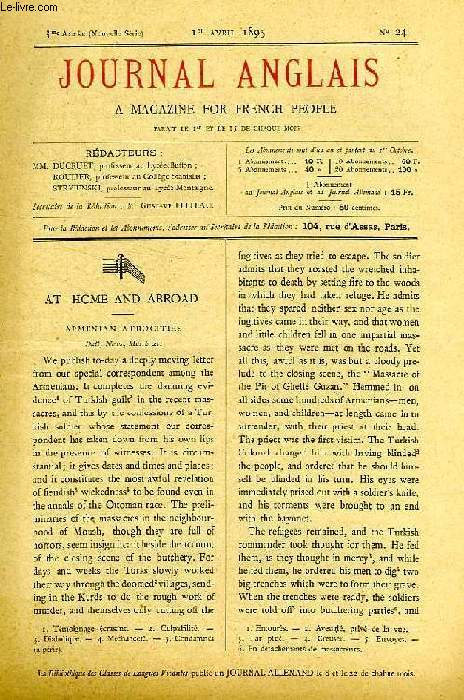 JOURNAL ANGLAIS, A MAGAZINE FOR FRENCH PEOPLE, 3e ANNEE, N° 24, Ier AVRIL 1895