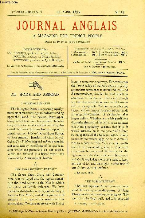 JOURNAL ANGLAIS, A MAGAZINE FOR FRENCH PEOPLE, 3e ANNEE, N° 25, 15 AVRIL 1895