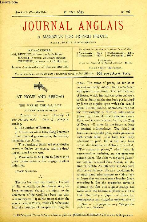 JOURNAL ANGLAIS, A MAGAZINE FOR FRENCH PEOPLE, 3e ANNEE, N° 25, 1er MAI 1895