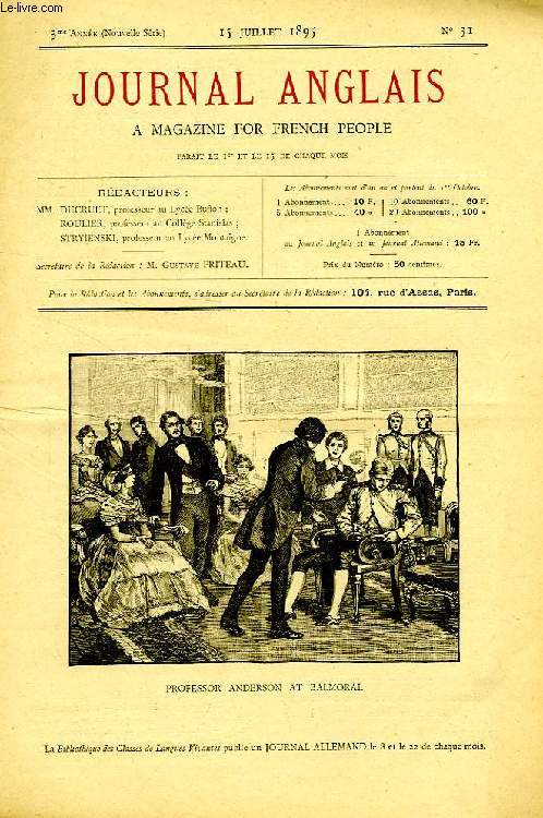 JOURNAL ANGLAIS, A MAGAZINE FOR FRENCH PEOPLE, 3e ANNEE, N° 31, 15 JUILLET 1895
