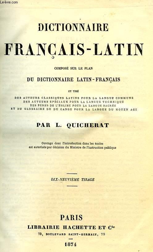 DICTIONNAIRE FRANCAIS-LATIN