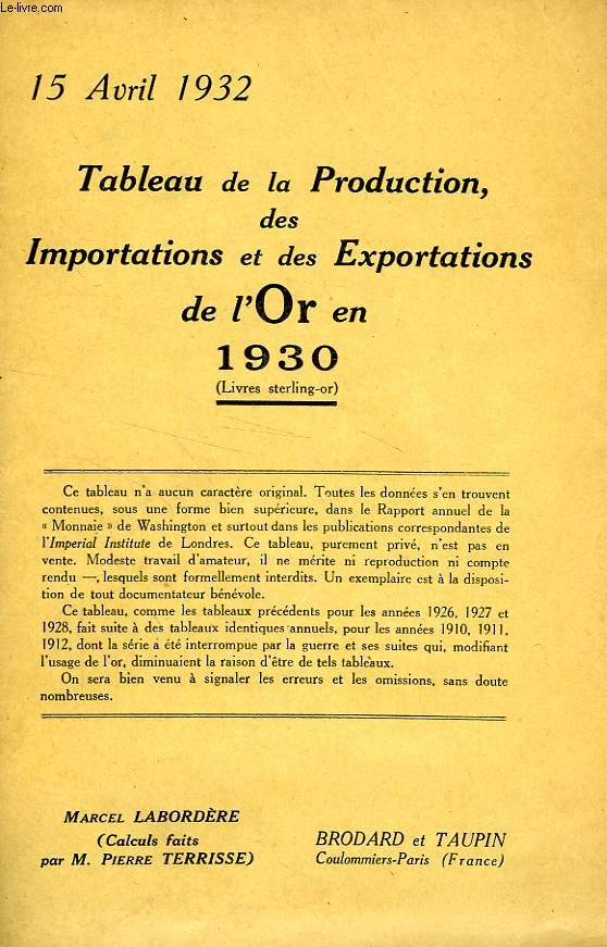 TABLEAU DE LA PRODUCTION, DES IMPORTATIONS ET DES EXPORTATIONS DE L'OR EN 1930 (LIVRES STERLING-OR)