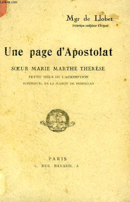 UNE PAGE D'APOSTOLAT, SOEUR MARIE MARTHE THERESE
