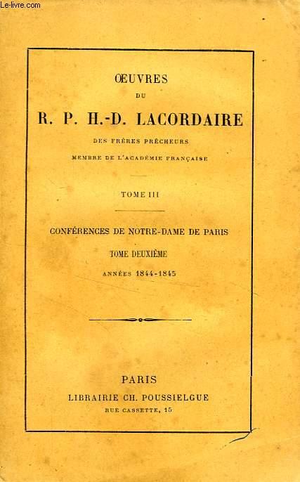 CONFERENCES DE NOTRE-DAME DE PARIS, TOME II, 1844-1845