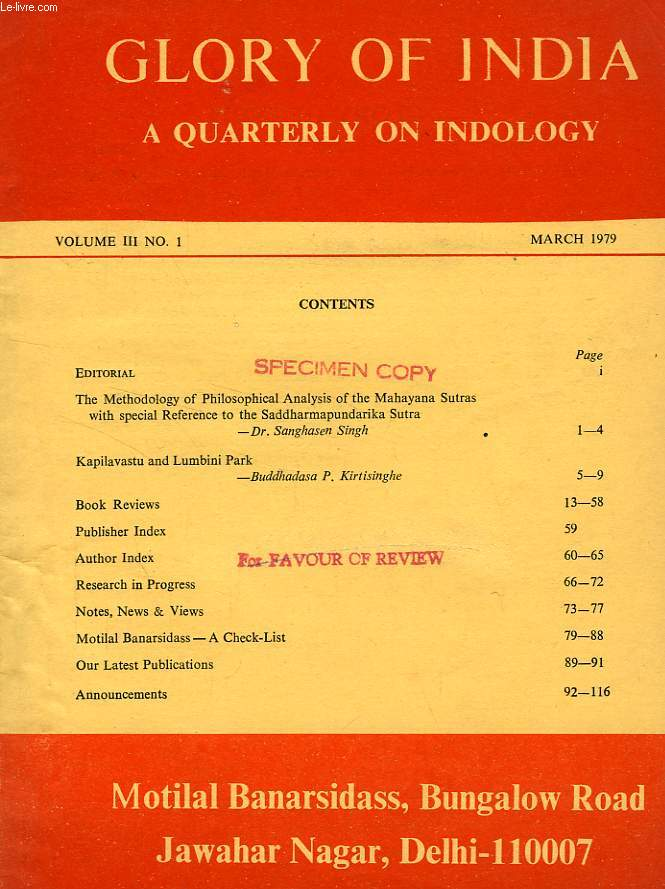 GLORY OF INDIA, A QUARTERLY ON INDOLOGY, VOL. III, N° 1, MARCH 1979
