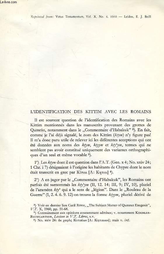 L'IDENTIFICATION DES KITTIM AVEC LES ROMAINS