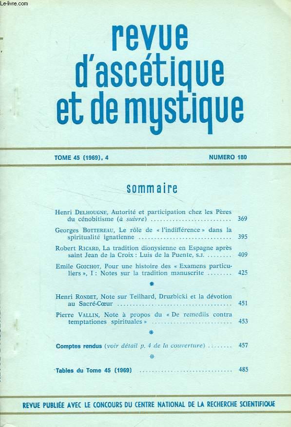 REVUE D'ASCETIQUE ET DE MYSTIQUE, TOME 45 (1969), 4, N° 180, EXTRAIT, LA TRADITION DIONYSIENNE EN ESPAGNE APRES SAINT JEAN DE LA CROIX: LUIS DE LA PUENTE S.J.