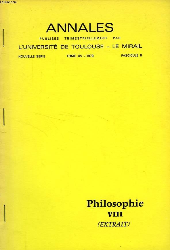 ANNALES DE L'UNIVERSITE DE TOULOUSE - LE MIRAL, NOUVELLE SERIE, TOME XV, FASC. 8, 1979, EXTRAIT, BIBLIOGRAPHIE DE GEORGES BASTIDE