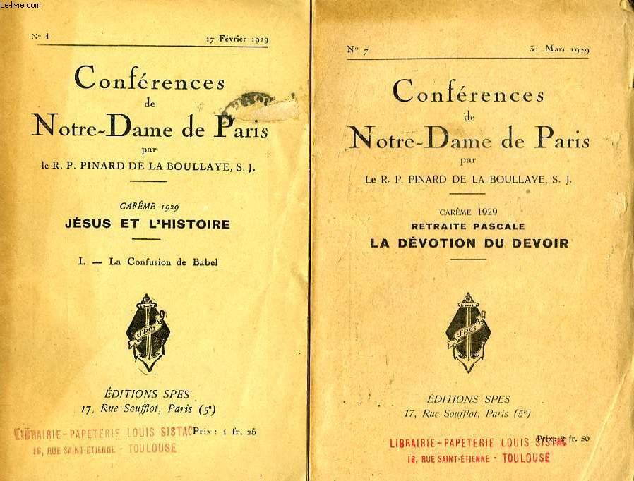 CONFERENCES DE NOTRE-DAME DE PARIS, CAREME 1929, JESUS ET L'HISTOIRE, 7 FASCICULES