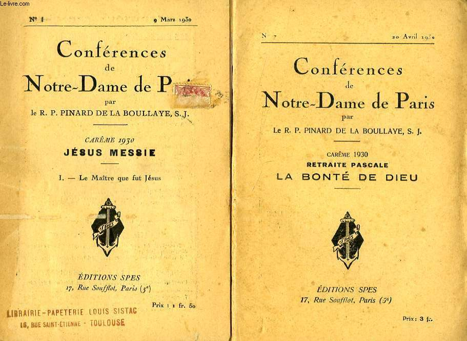 CONFERENCES DE NOTRE-DAME DE PARIS, CAREME 1930, JESUS MESSIE, 7 FASCICULES