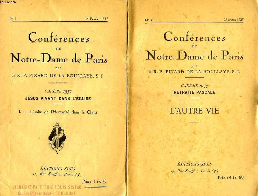 CONFERENCES DE NOTRE-DAME DE PARIS, CAREME 1937, JESUS VIVANT DANS L'EGLISE, 7 FASCICULES