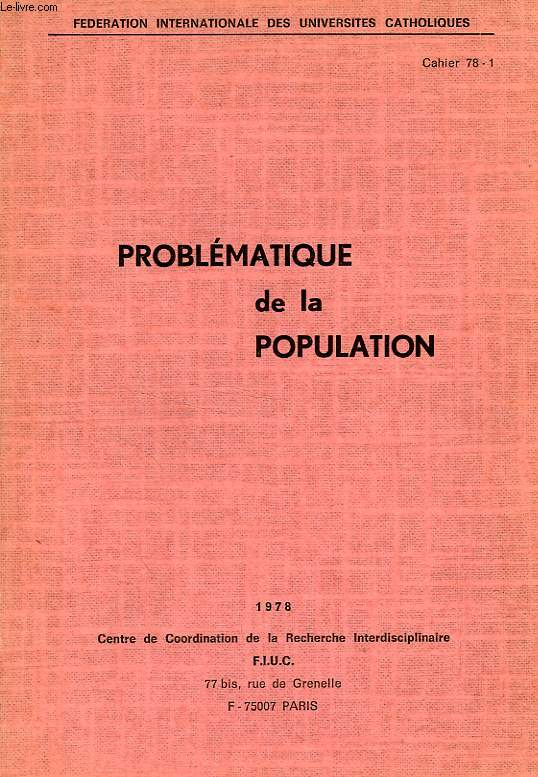 PROBLEMATIQUE DE LA POPULATION