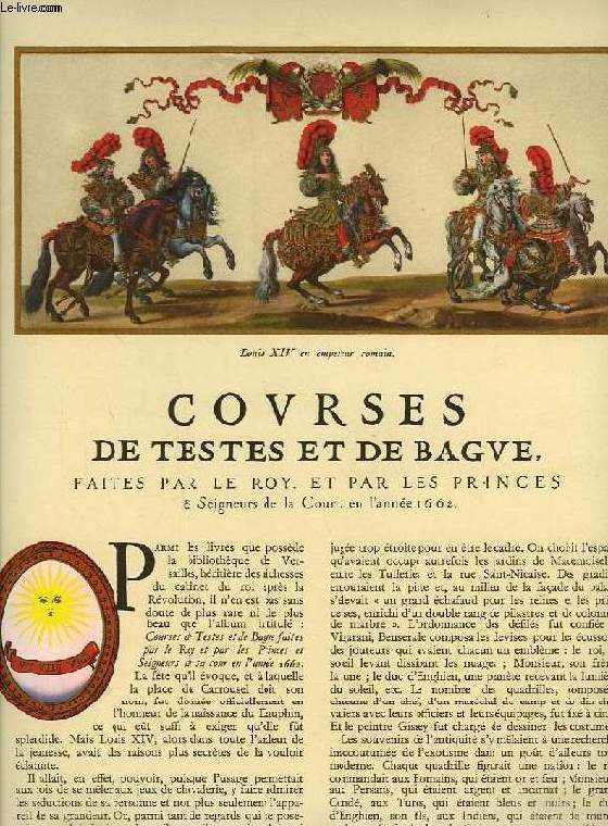 COURSES DE TESTES ET DE BAGUE FAITES PAR LE ROY ET PAR LES PRINCES & SEIGNEURS DE LA COUR, EN L'ANNEE 1662 (EXTRAIT DE L'ILLUSTRATION)