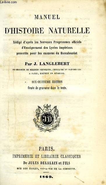MANUEL D'HISTOIRE NATURELLE