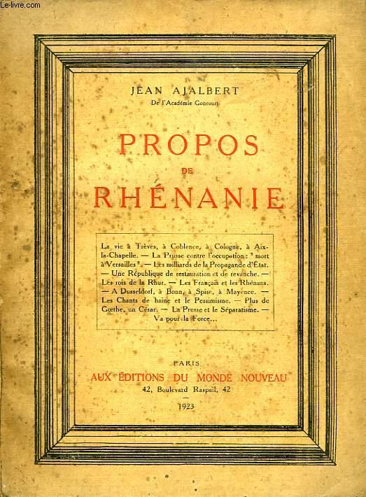 PROPOS DE RHENANIE