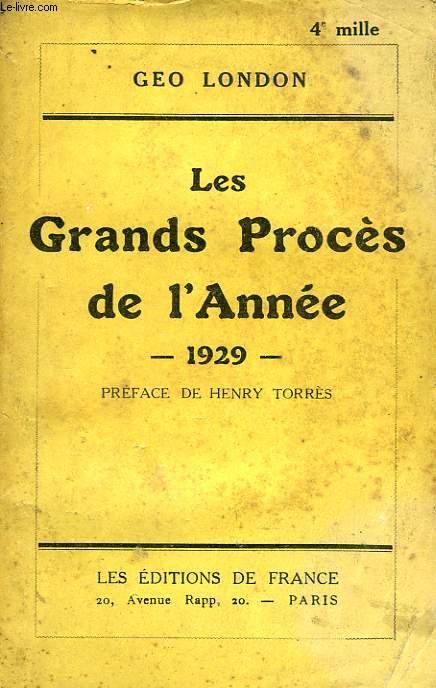 LES GRANDS PROCES DE L'ANNEE 1929