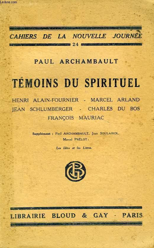 TEMOINS DU SPIRITUEL