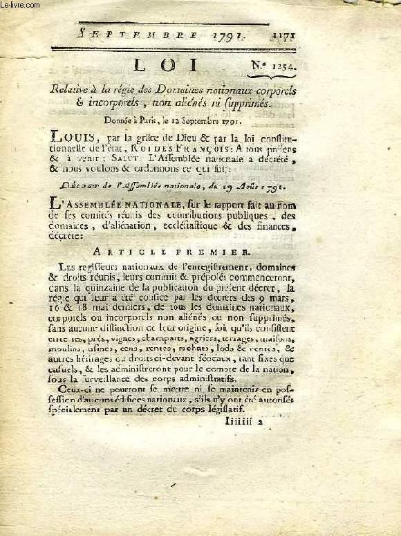 LOI, N° 1254, RELATIVE A LA REGIE DES DOMAINES NATIONAUX CORPORELS & INCORPORELS, NON ALIENES NI SUPPRIMES