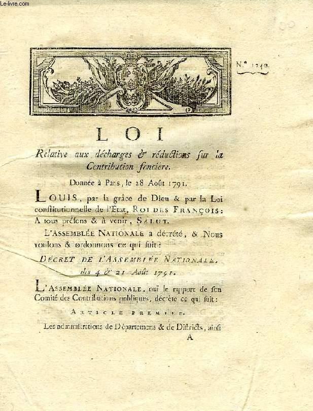 LOI, N° 1240, RELATIVE AUX DECHARGES & REDUCTIONS SUR LA CONTRIBUTION FONCIERE