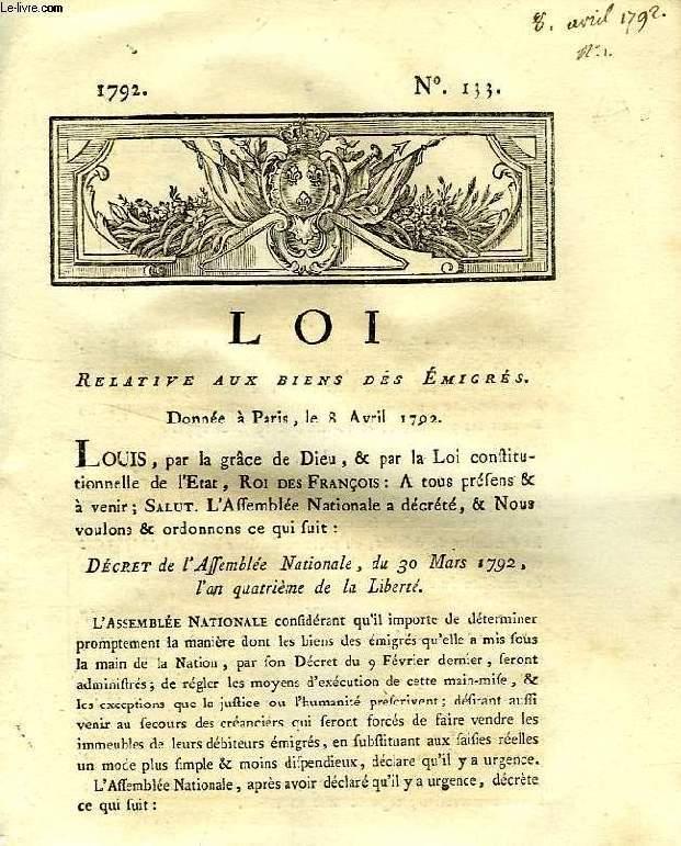 LOI, N° 133, RELATIVE AUX BIENS DES EMIGRES