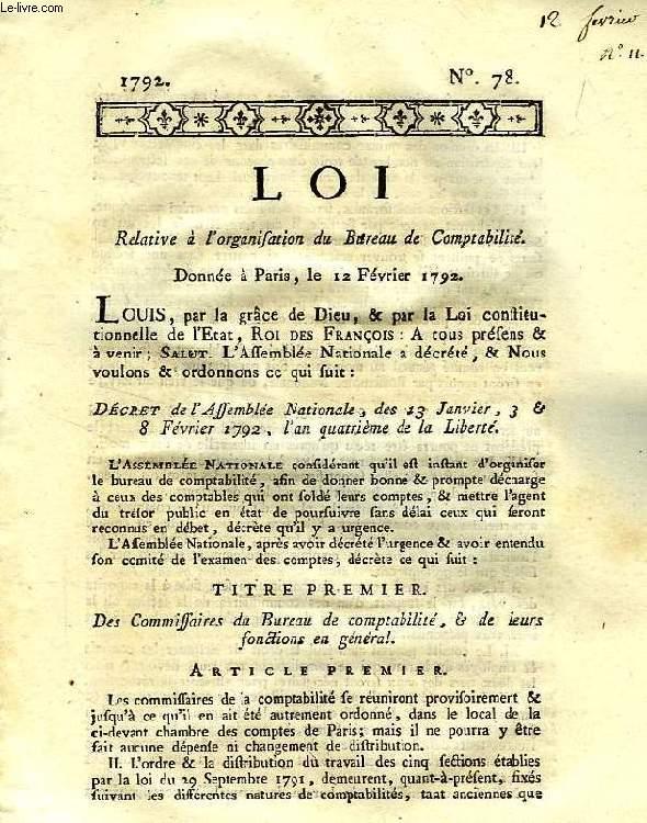 LOI, N° 78, RELATIVE A L'ORGANISATION DU BUREAU DE COMPTABILITE