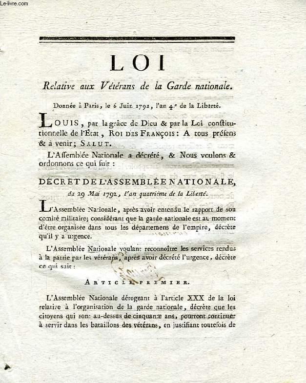 LOI, RELATIVE AUX VETERANS DE LA GARDE NATIONALE
