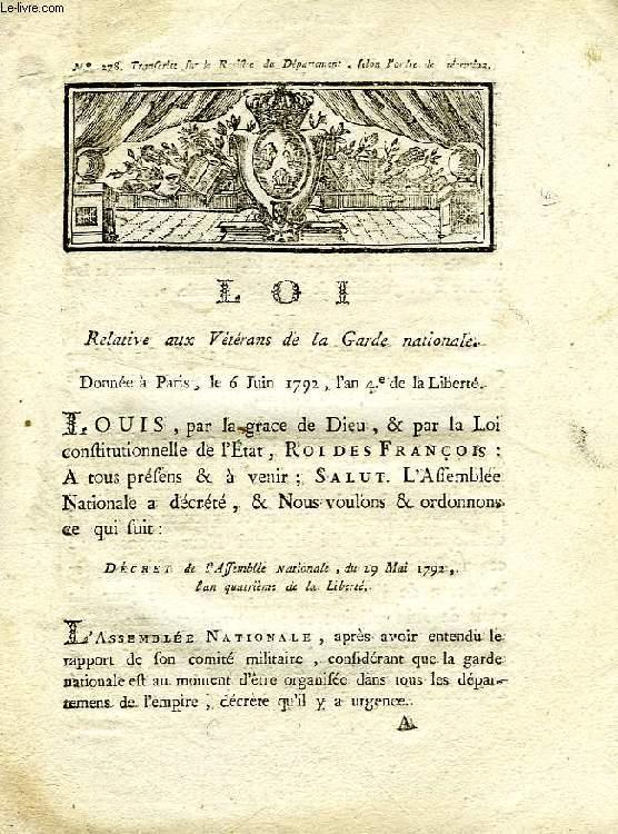 LOI, N° 278, RELATIVE AUX VETERANS DE LA GARDE NATIONALE