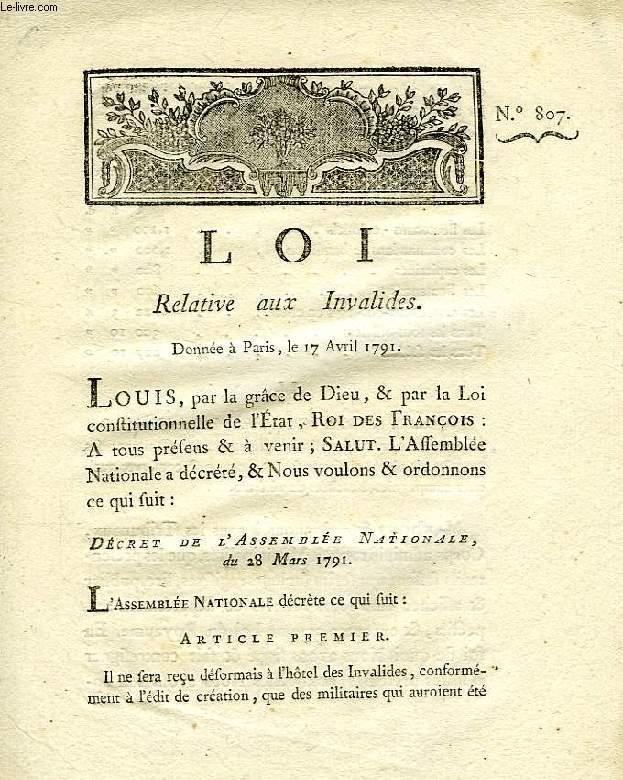 LOI, N° 807, RELATIVE AUX INVALIDES
