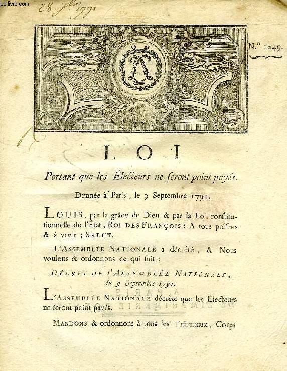 LOI, N° 1249, PORTANT QUE LES ELECTEURS NE SERONT POINT PAYES
