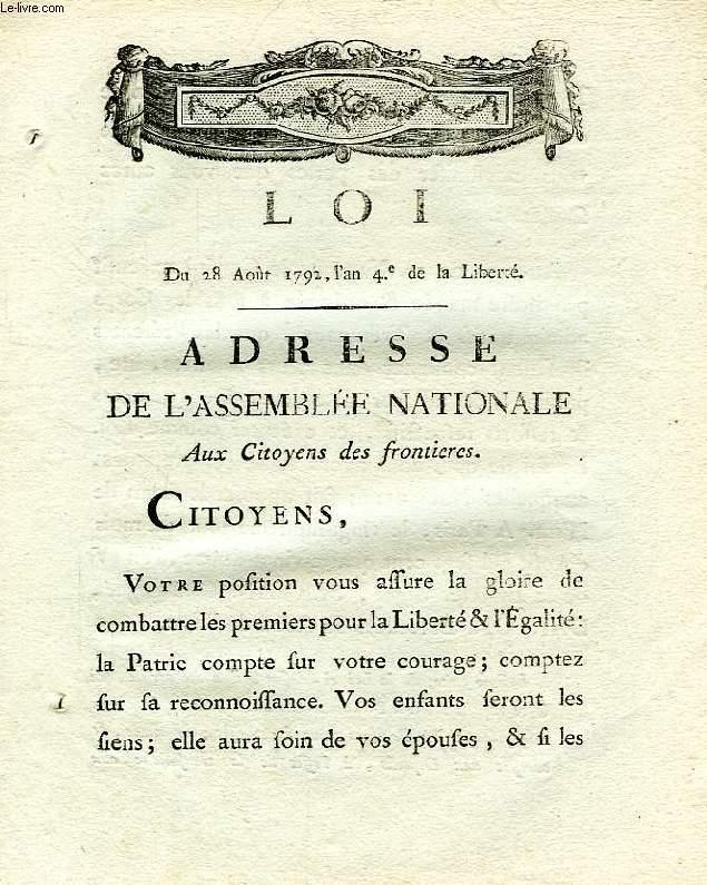 LOI, ADRESSE DE L'ASSEMBLEE NATIONALE AUX CITOYENS DES FRONTIERES