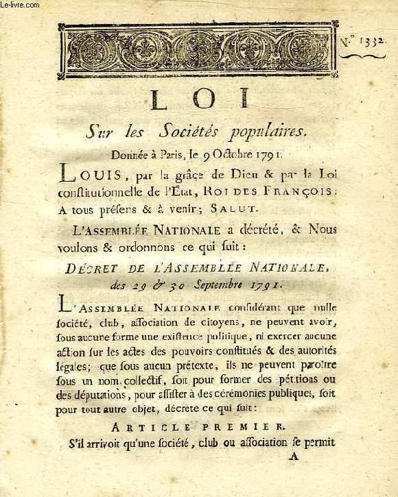 LOI, N° 1332, SUR LES SOCIETES POPULAIRES