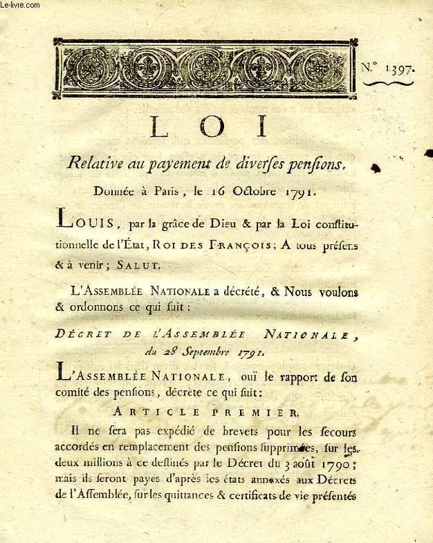 LOI, N° 1397, RELATIVE AU PAYEMENT DE DIVERSES PENSIONS