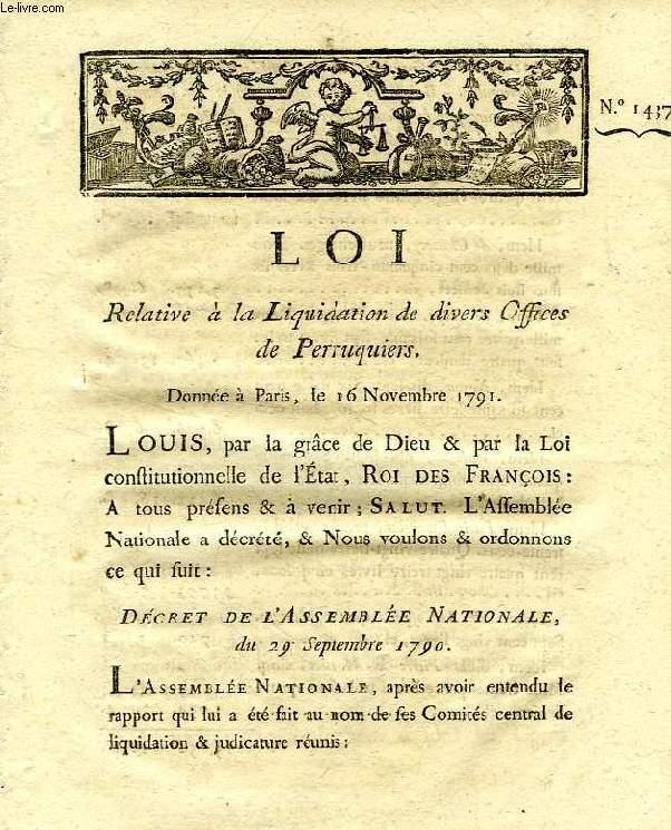 LOI, N° 1437, RELATIVE A LA LIQUIDATION DE DIVERS OFFICES DE PERRUQUIERS