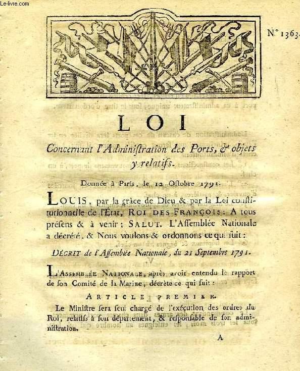 LOI, N° 1363, CONCERNANT L'ADMINISTRATION DES PORTS & OBJETS Y RELATIFS