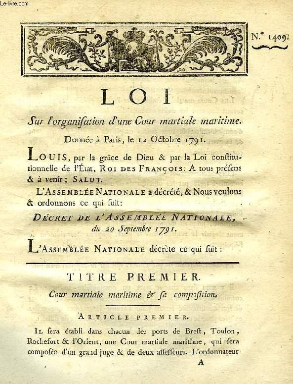 LOI, N° 1409, SUR L'ORGANISATION D'UNE COUR MARTIALE MARITIME