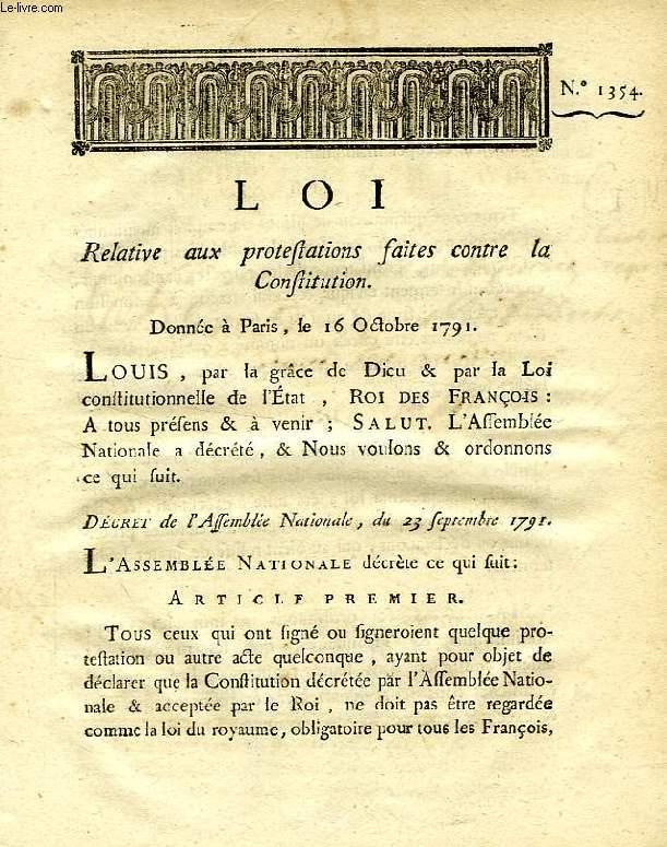 LOI, N° 1354, RELATIVE AUX PROTESTATIONS FAITES CONTRE LA CONSTITUTION